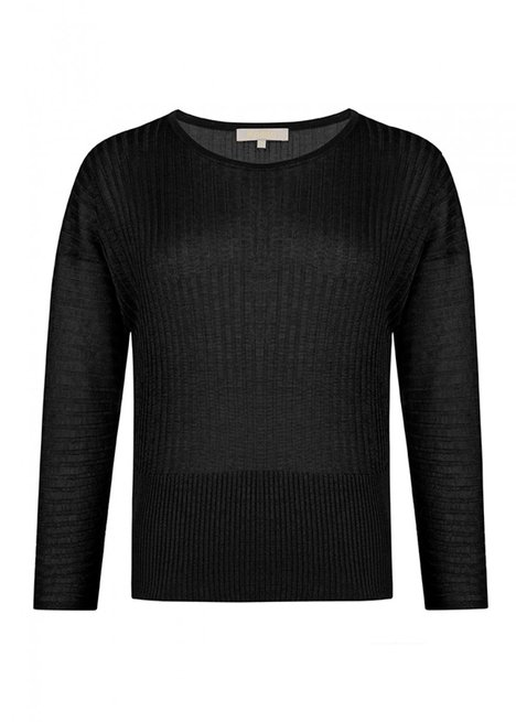 Crew Neck Black Knitwear Top