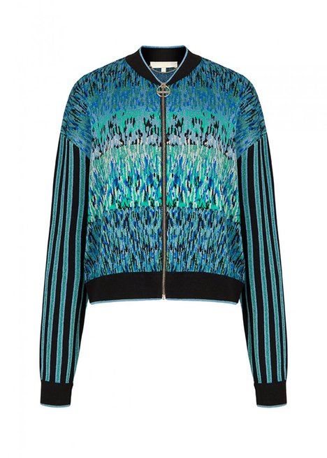 BLUE PATTERNED KNIT BOMBER JACKET
