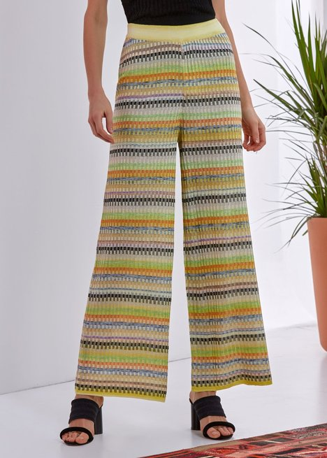 PATTERNED WIDE LEG KNITTED PANT