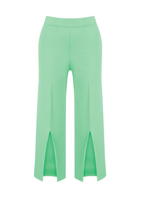 SPLITED GREEN KNIT PANT