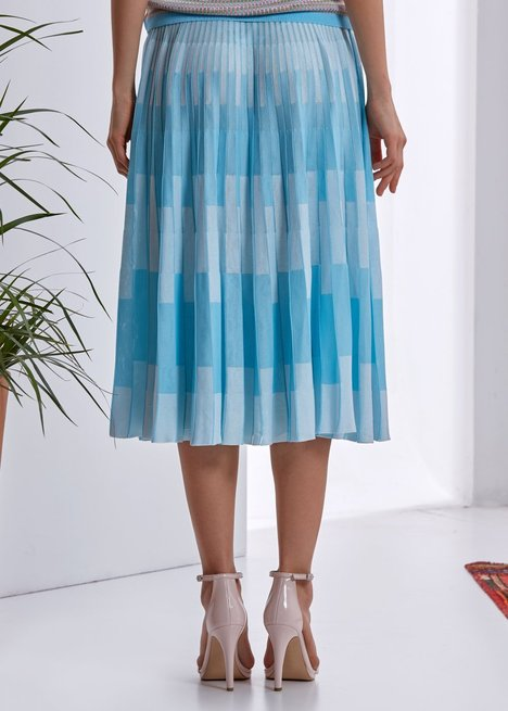 PATTERNED  PLEATED BLUE SKIRT