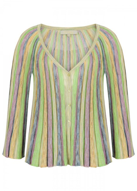 Pleated Multicolor Knit Cardigan
