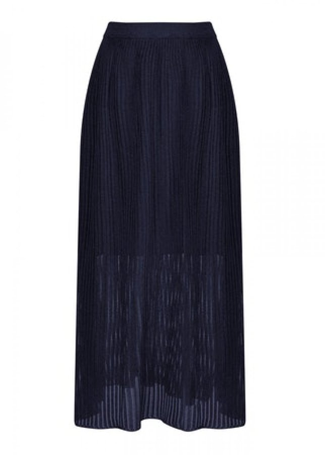 SHEER KNITTED NAVY SKIRT