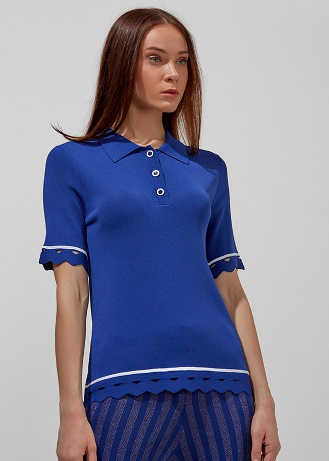 POLO NECK HEM DETAILTED BLUE KNIT TOP