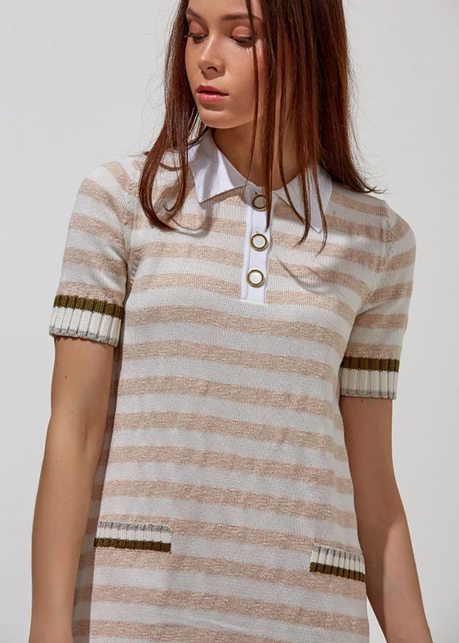 Striped Half Sleeve Polo Blush Knit Dress