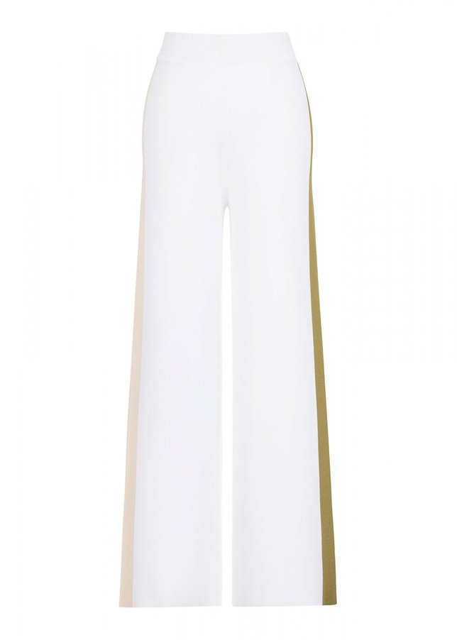 SIDE STRIPED WHITE KNITTED PANT