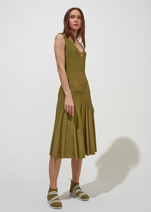 Sleeveless Khaki Maxi Knit Dress