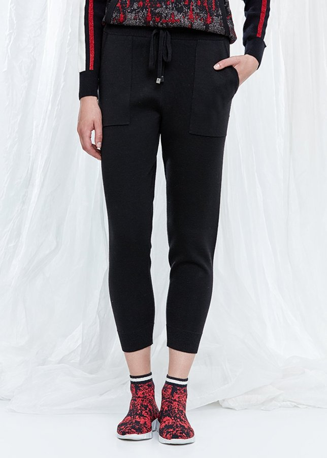 Pure Wool Black Knit Trousers