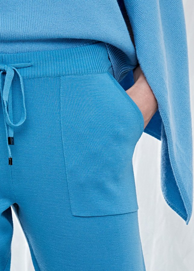 Pure Wool Blue Knit Trousers