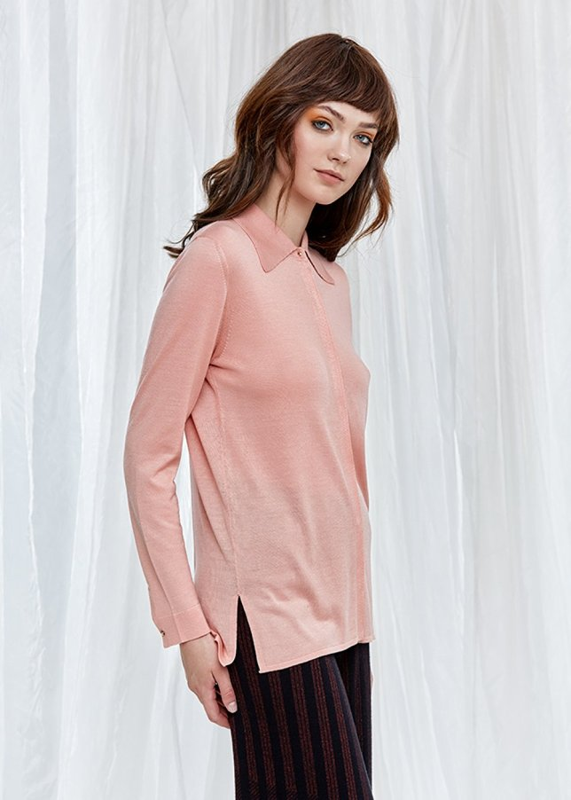 Long Sleeve Pure Silk Dusty Pink Knit Shirt
