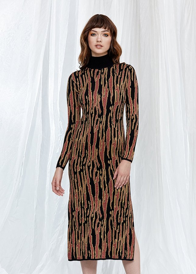 Long Sleeve Turtleneck Long Knit Dress