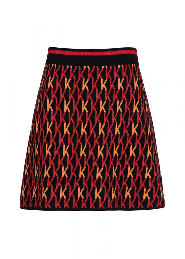 Patterned Colorful Knit Skirt