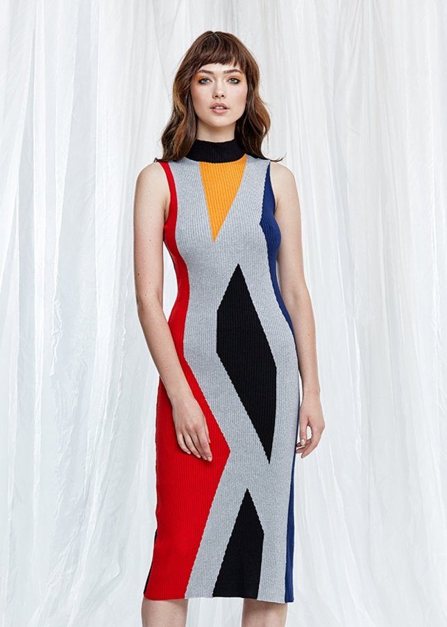 Sleeveless Colorful Midi Knit Dress