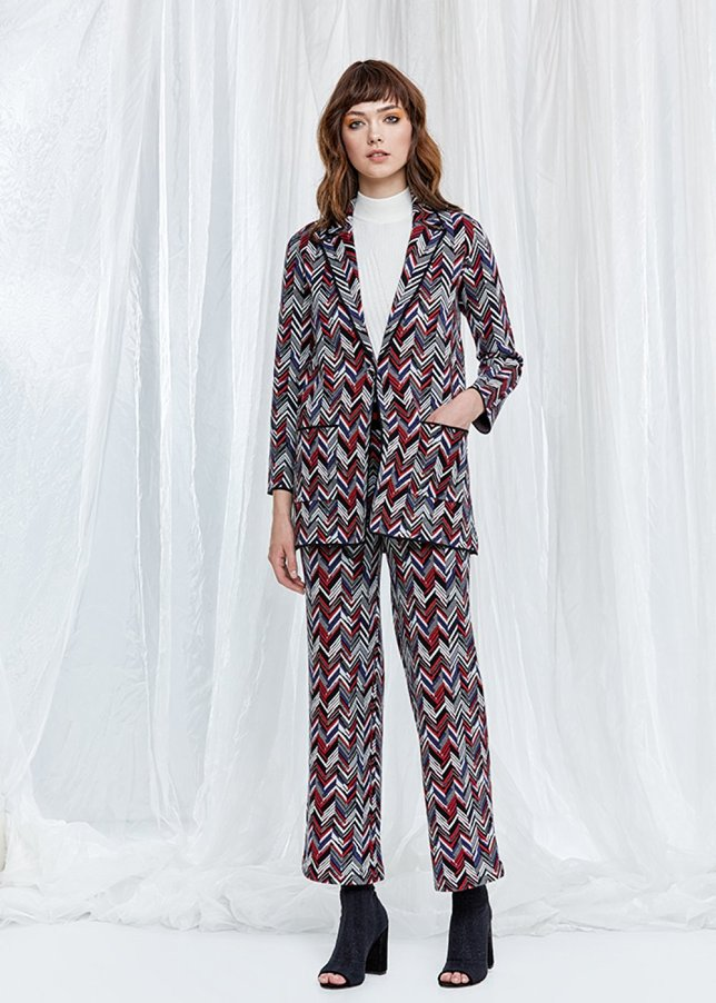 Boot Cut Patterned Knit Trousers