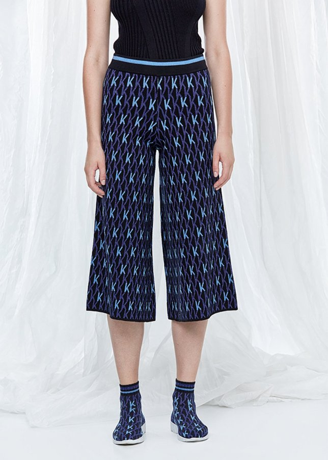 Patterned Wide Leg Knit Trousers