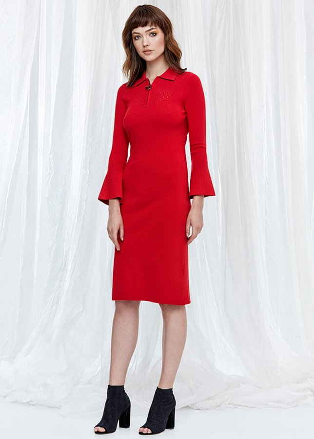 Bell Sleeve Red Knit Dress