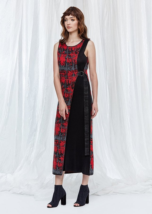 Patterned Silk Blend Sleeveless Maxi Dress