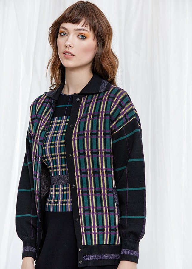 Patterned Wool Knit Bomber Jacket