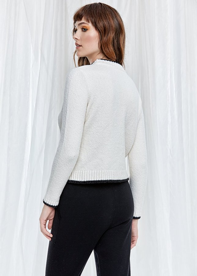 Long Sleeve High Neck Ecru Sweater