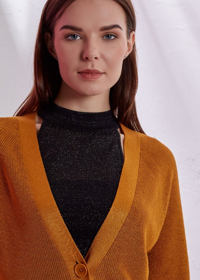 BASIC YELLOW  KNIT CARDIGAN