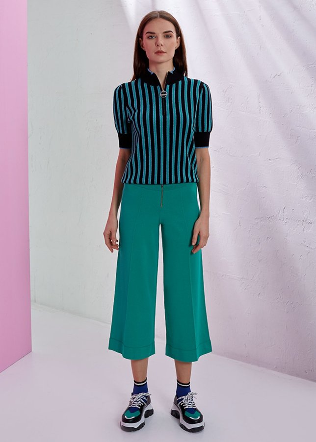 WIDE LEG GREEN KNITTED PANT