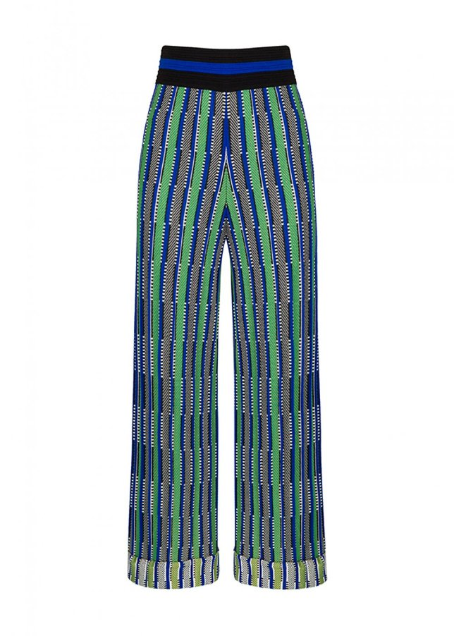 PATTERNED BLUE GREEN KNIT PANT