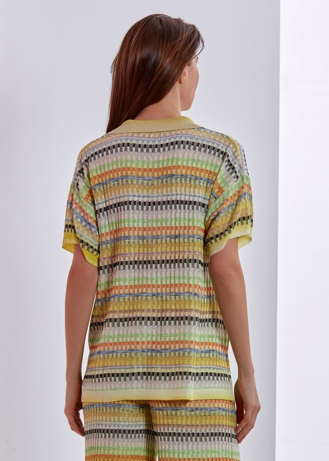 PATTERNED POLO NECK KNIT TOP