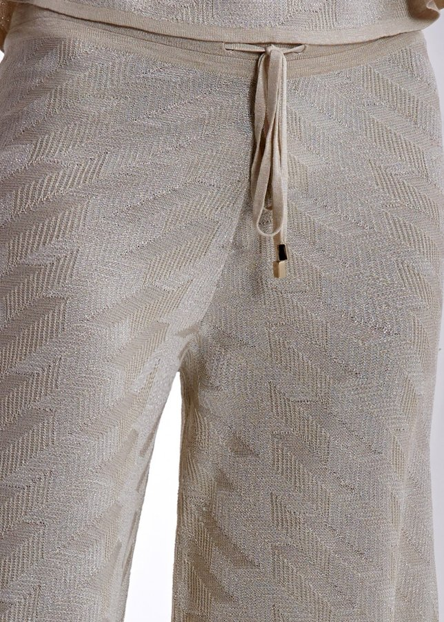 LINEN MIX LUREX PATTERNED BEIGE KNIT PANT