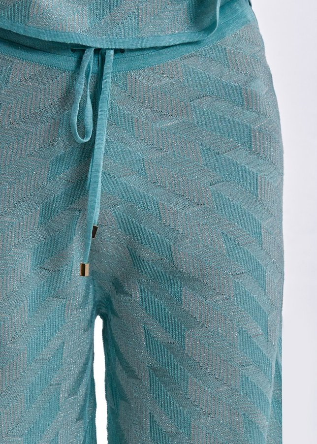 LINEN MIX LUREX PATTERNED BLUE KNIT PANT
