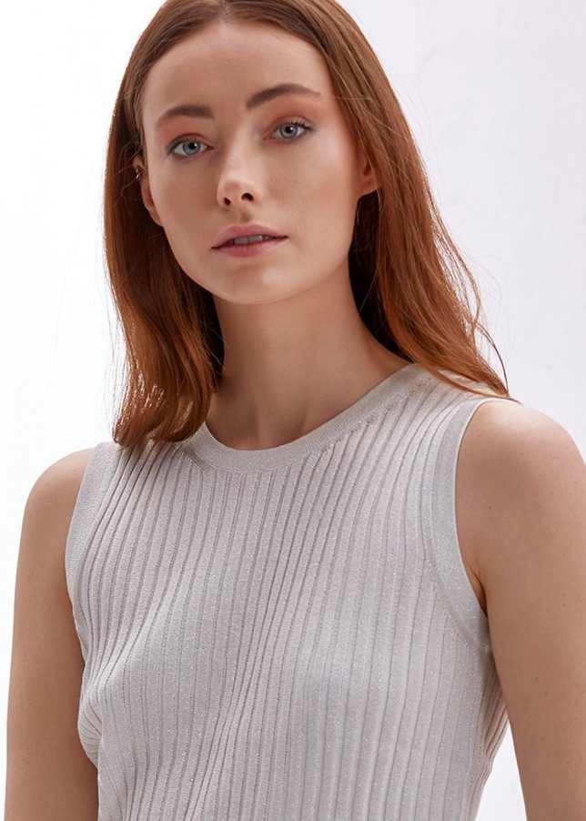 LUREX RIBBED ECRU TOP