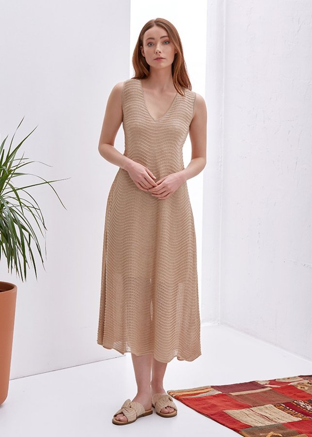 V Neck Sleeveless Beige Knit Dress